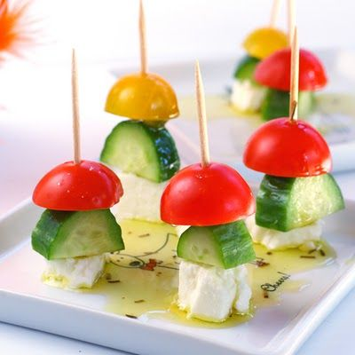 Feta, Cucumber, Tomato Skewers