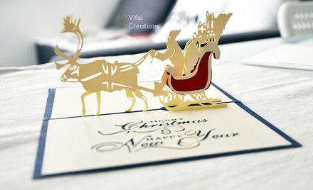 Carte de voeux 3D-Kirigami pop-up pour Noël, le Père Noël sur le traineau [#0034] : Cartes par yifei