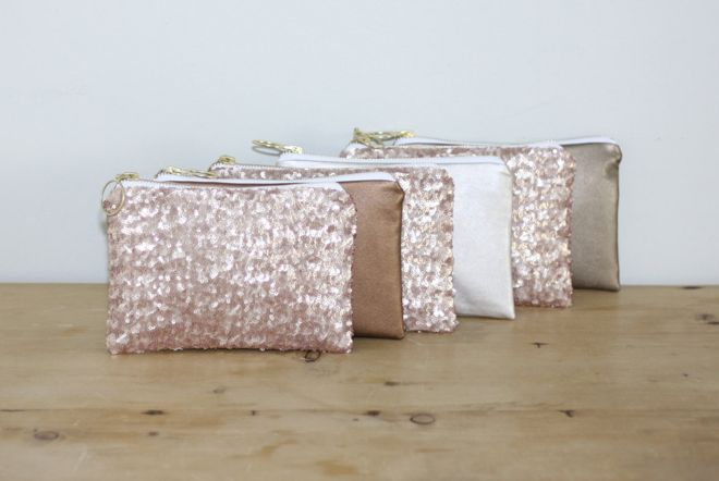 Sequin and leather bridesmaids bags from Almquist Design Studio  ~  we ❤ this! moncheribridals.com #bridesmaidclutch