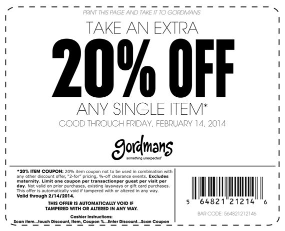 Gordmans 20 off coupon july 2018