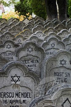 Moldavia , Iasi, Jewish Cemetery. The headstones look like they are coming towards you.