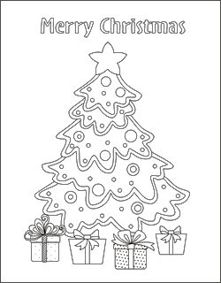 SquishyCuteDesigns: Merry Christmas Tree coloring page