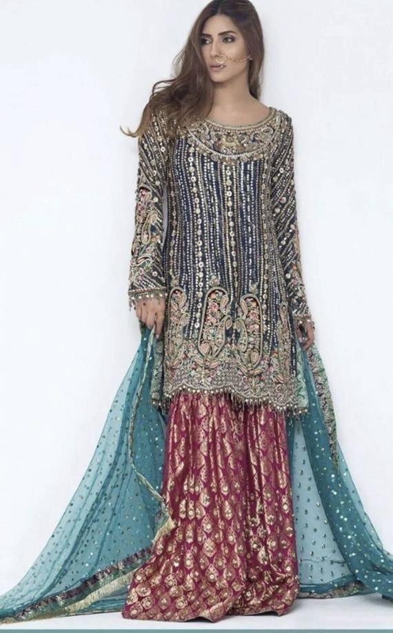 Pakistani salwar kameez organza  chiffon  net embroidered dress made on custom order