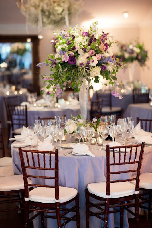 Purple Wedding Reception Flowers 275x412 Tented Maryland Wedding Reception: Lauren + Adam
