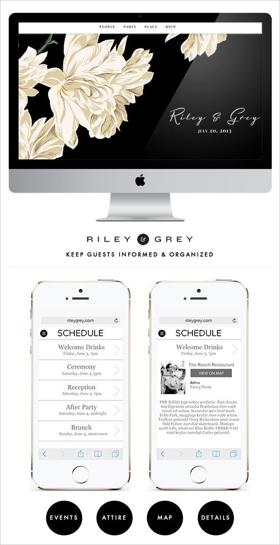 Informative wedding website to have your guests up to date and in the know on your wedding weekend. Design: Riley & Grey ---> http://www.weddingchicks.com/2014/05/22/riley-grey-wedding-website/
