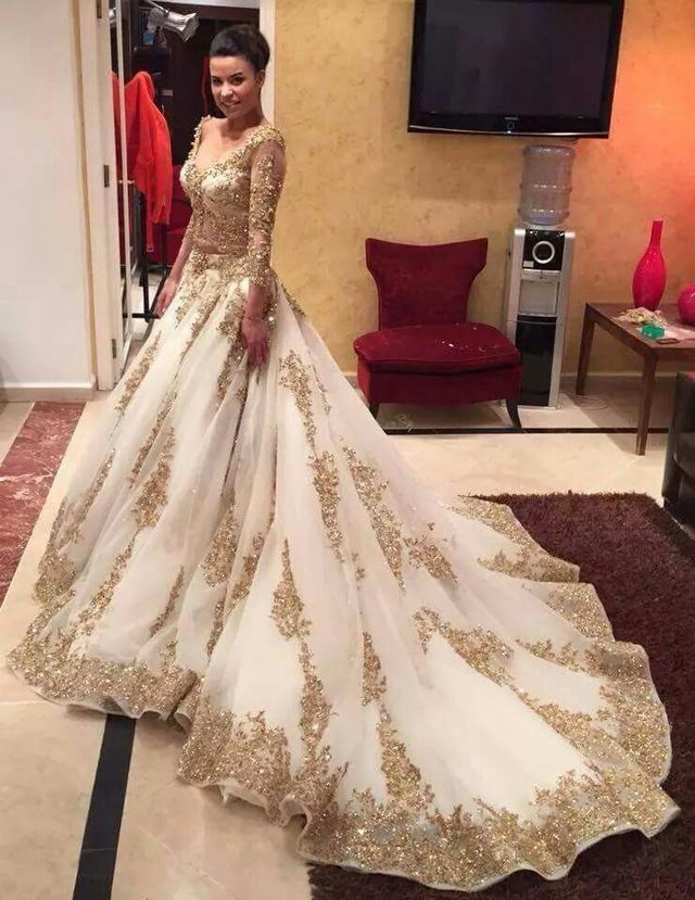 Luxurious Long Wedding Dresses with Gold Appliques from dressydances a6db966c20a3