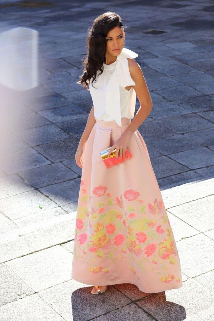 falda larga abullonada rosa de flores de boda fiesta evento coctel bautizo comunion de apparentia