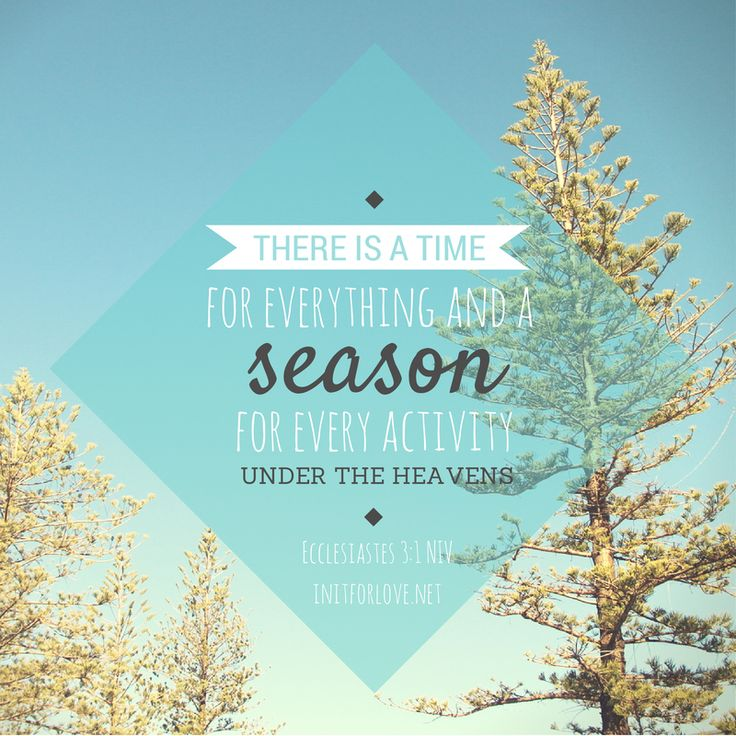 There is a time for everything and a season for every activity under the heavens.  Ecclesiastes 3:1 NIV