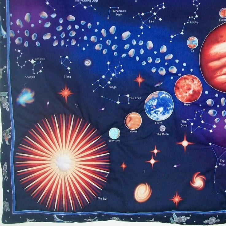 25 best images about space quilts on pinterest horns for Solar system fabric