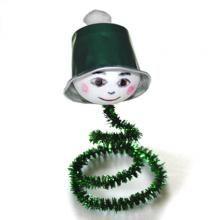 Lutin vert sur ressort - Noël - Tête à modeler
