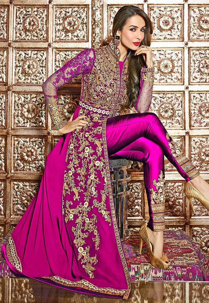 Semi-Stitched Faux Georgette and Net Abaya Suit with Poly Shantoon in Fuchsia Prettified with Resham, Zari, Stone and Patch Border Work Available with a Poly Shantoon Straight Pant and a Faux Chiffon Dupatta in Fuchsia The Kameez and Bottom Lengths are 56 and 42 inches respectively Do note: The Length may vary upto 2 inches. Accessories shown in the image are for presentation purposes only.(Slight variation in actual color vs. image is possible)