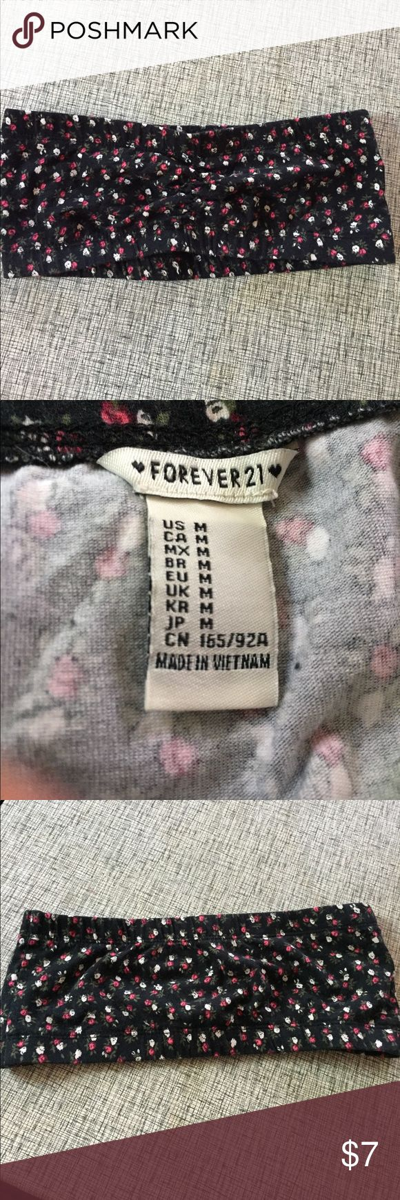 Floral Bandeau top Floral bandeau top. Black. white and pink roses. Never worn. Forever 21 Tops Crop Tops