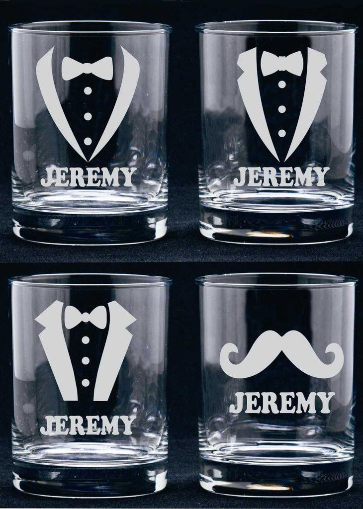 Personalized Groomsmen Gift (ONE) Etched Goblets Tumbler Toasting Glasses Reception Favor