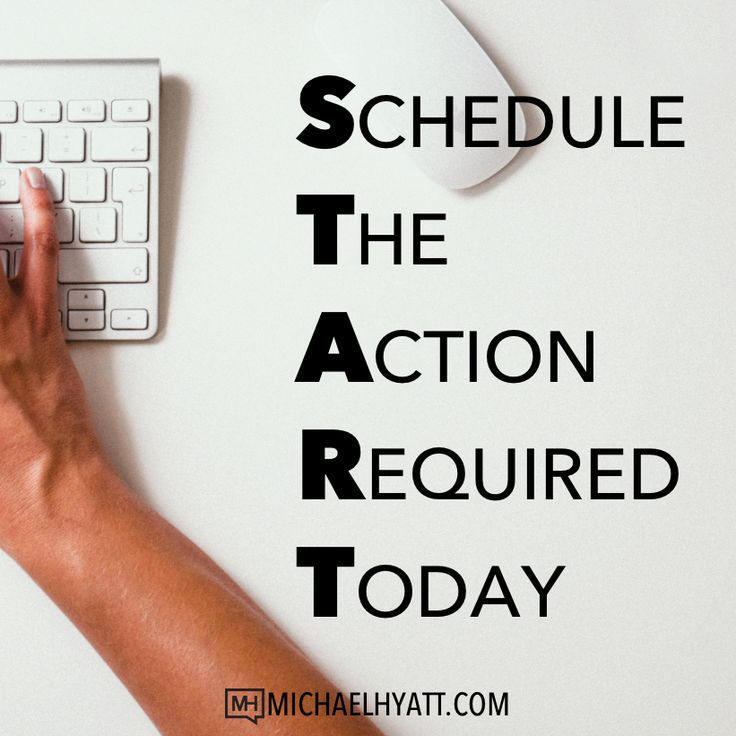The other day, I was thinking about what it takes to accomplish a goal and I came up with this acronym. S - Schedule T - the A - Action R - Required T - Today What action does your goal require that you take TODAY? Focus on that one action. Don't overthink it. Just take the next step.