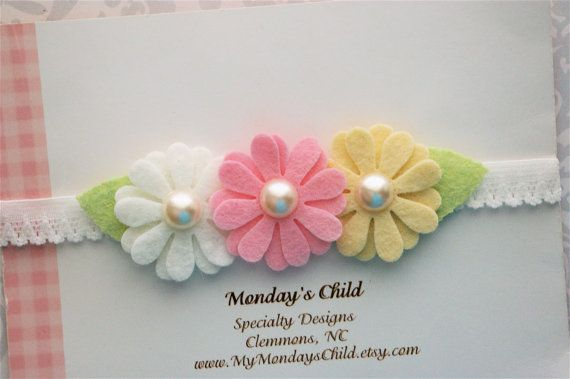Daisy Daisy bebê Headband Headband Felt Flower por MyMondaysChild
