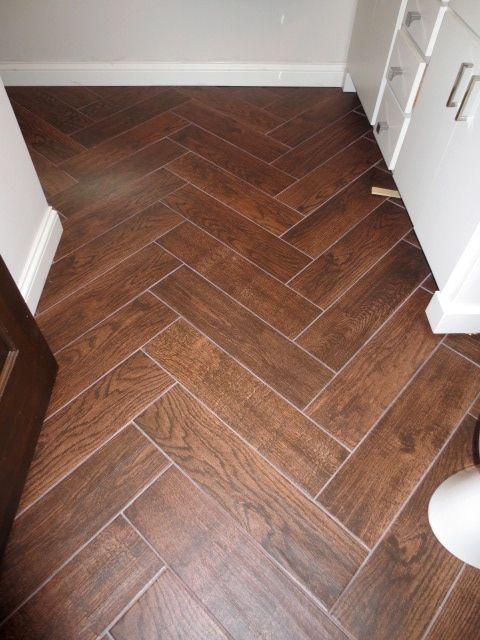 Herringbone Bathroom Wood Tile - gorgeous!