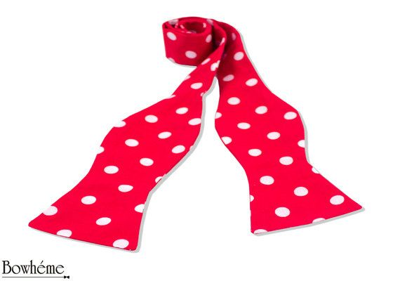 Self Tie Bow Tie with Polka Dots unisex  RED DOTS. by Bowheme, $15.50