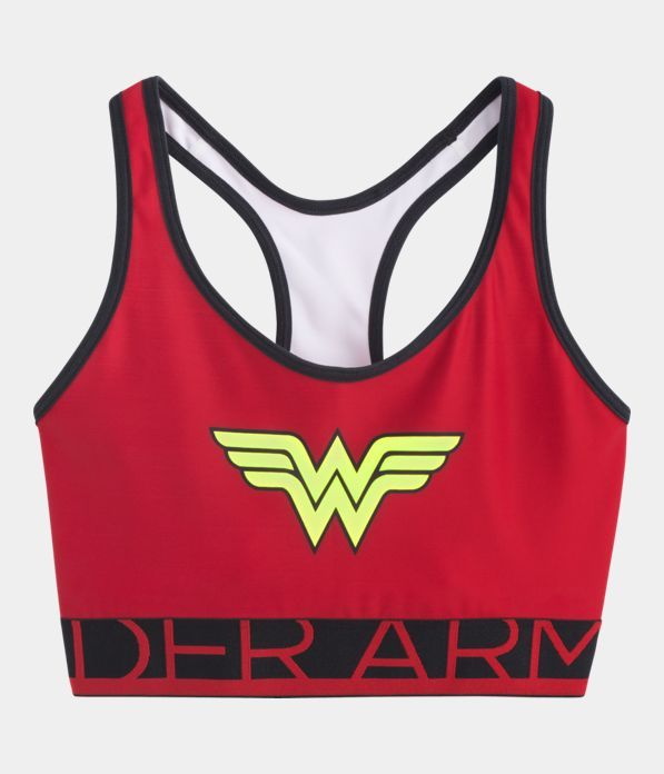 Women's Under Armour® Alter Ego HeatGear® Armour Wonder Woman Sports Bra, Red, Laydown