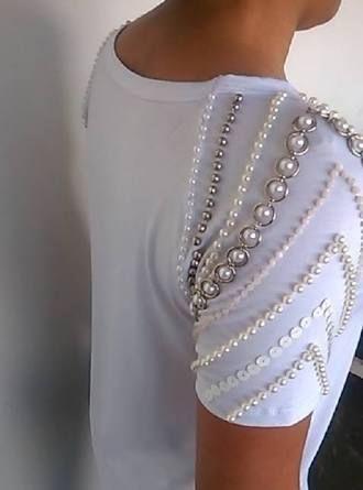 Resultado de imagen para blusa com pedraria nas mangas
