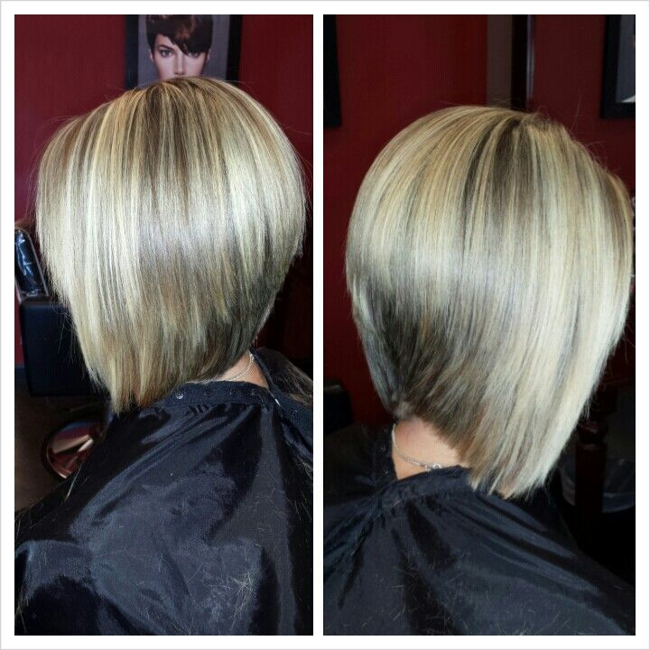 Blonde highlights and graduated bob haircut