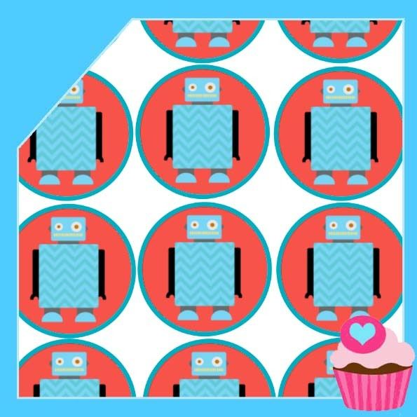 Edible Cake Toppers - cupcake images Robots (all T1), $4.50 (http://www.ediblecaketoppers.com.au/cupcake-images-robots-all-t1/)