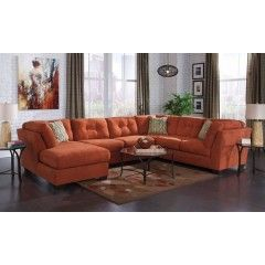 Delta City - Rust 3 Pc LAF Chaise Sectional w/ Full Sleeper