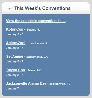 This weekend's anime conventions are in New Jersey Illinois California Arizona and Florida. View the image for the list.  Find upcoming anime cons in your area by visiting http://AnimeCons.com .