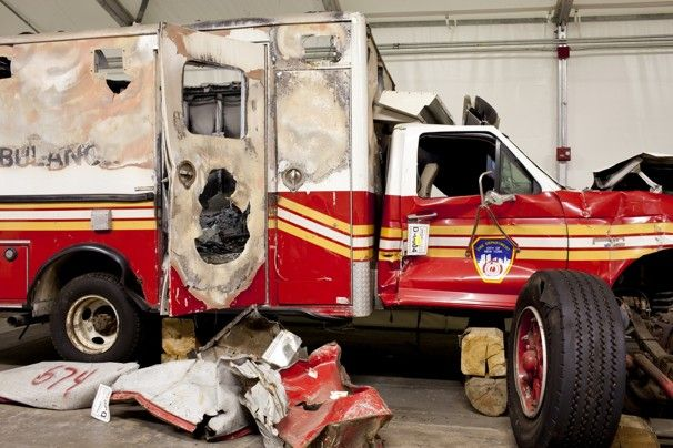 Some of the rescue vehicles that were destroyed at the World Trade Center on Sept. 11, 2001, are currently housed in Hangar 17 at JFK Airport.  Ira Block / National September 11 Memorial & Museum