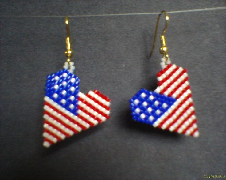 Heart+American+Flag+Earrings+in+Brick+stitch+by+Beadedforu+on+Etsy,+$15.00