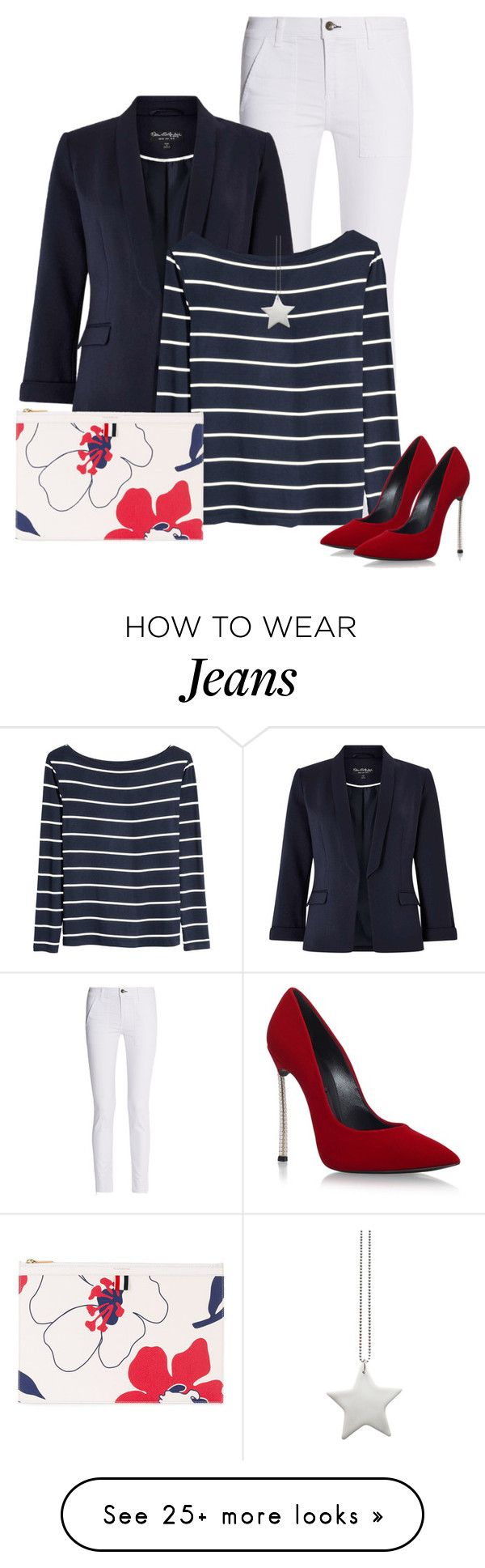 """Red, White, & Blue!"" by oxigenio on Polyvore featuring rag & bone, Miss Selfridge, H&M, design *by Imre Bergmann, Casadei and Thom Browne"