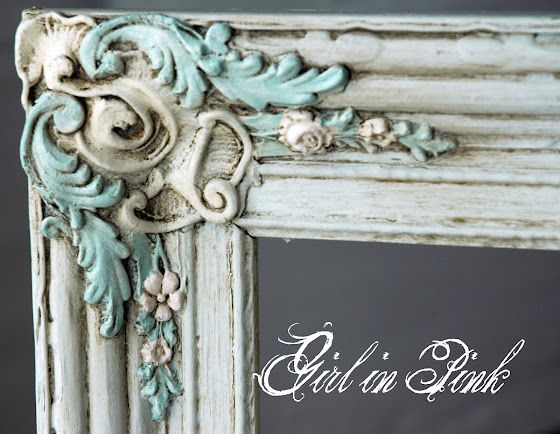 DIY Painting & Layering techniques to achieve this look with 'Paris Grey', 'Old White', 'Duck Egg Blue' and 'Antoinette' Annie Sloan Chalk Paint. Tips for using the dark wax too. - by One Girl In pink