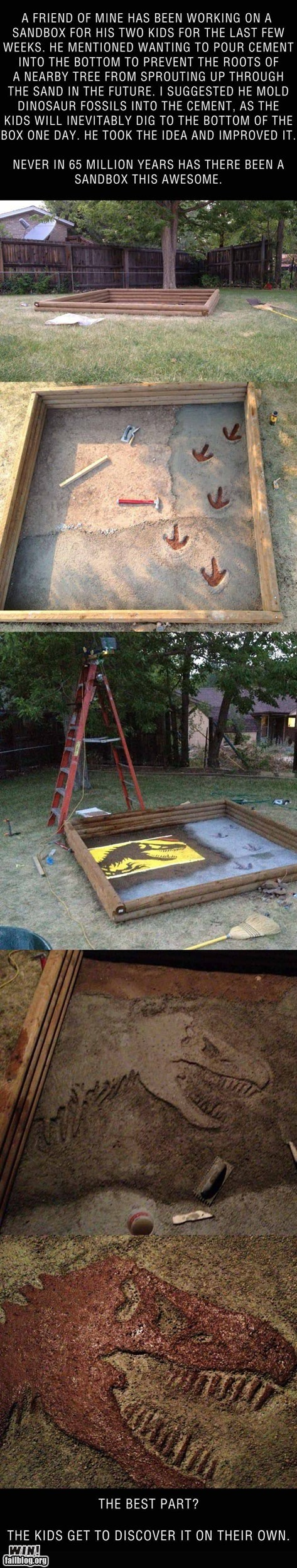 Sandbox Surprise WIN (If I have kids WILL do this and put dinosaur bones in the bottom)