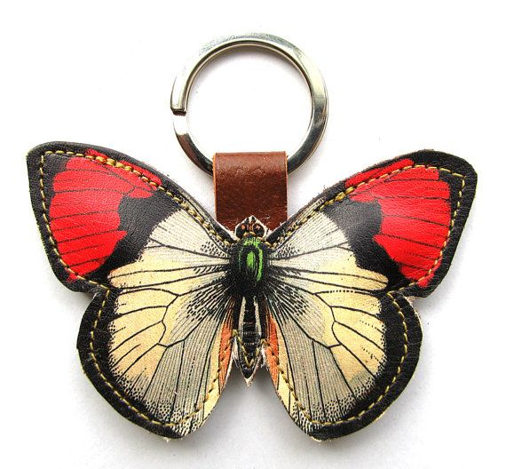 Butterfly leather keychain/bag charm - red & white