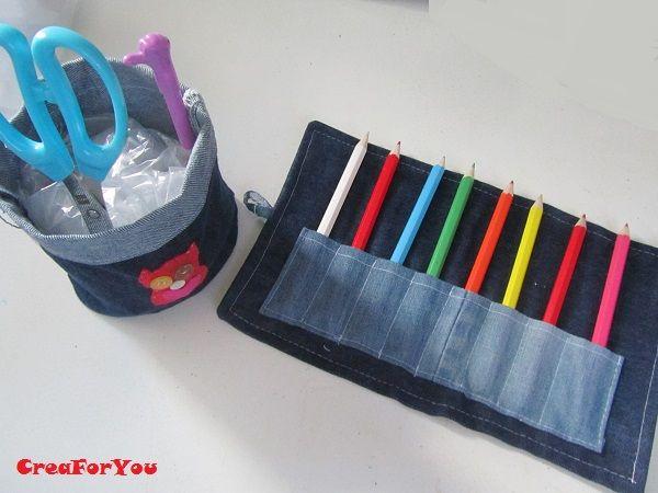 spijkerbroek wordt pennenhouder en oprolbare potloodetui (naailes met kinderen op school)