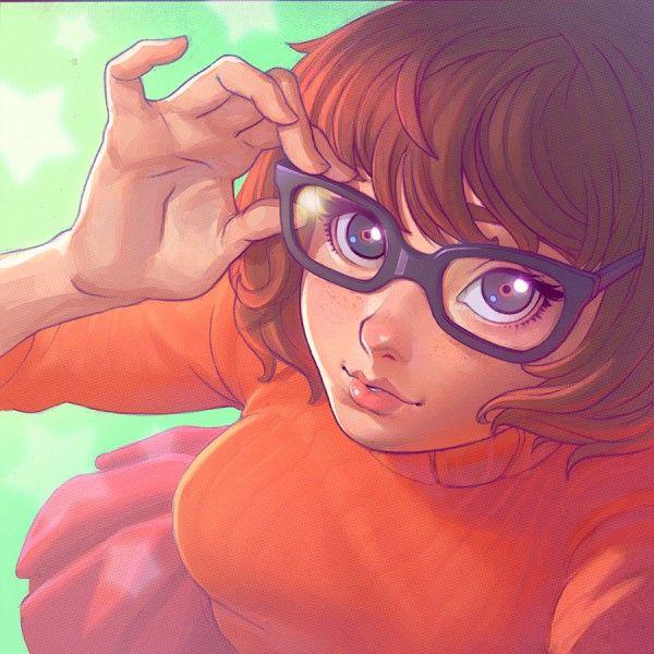 Tags: Anime, Orange Outfit, Turtleneck, Adjusting Glasses, Scooby Doo, Velma Dinkley, Pixiv Id 789222
