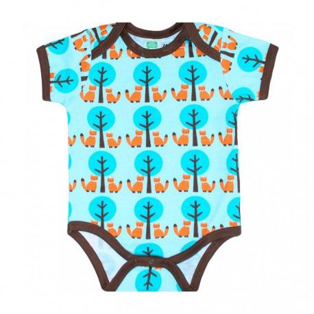 Body short sleeve, foxes and trees, turquoise, Sture & Lisa