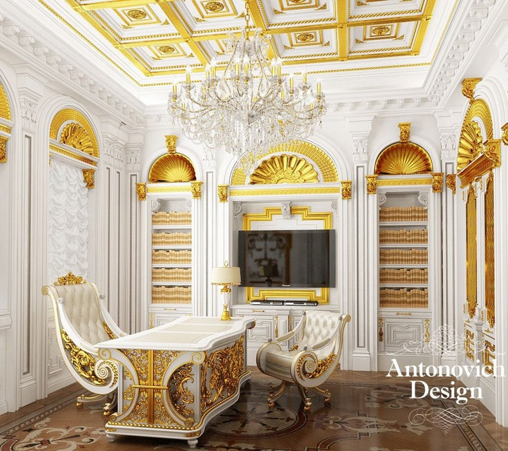 And how about such working place? Splendor of furniture, luxurious décor make this interior unique. In such a place you feel at least the royal person. Nobility, elegance, luxury ...