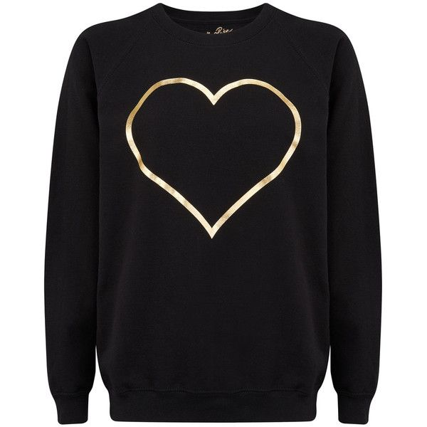 ON THE RISE Heart Jumper - Black & Gold ($87) ❤ liked on Polyvore featuring tops, sweaters, textured sweater, round neck sweater, gold sweater, long sleeve sweater and jumper top