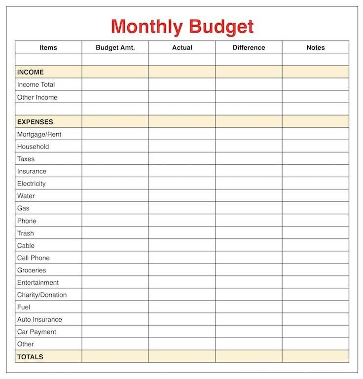 Pin On Monthly Budget Template