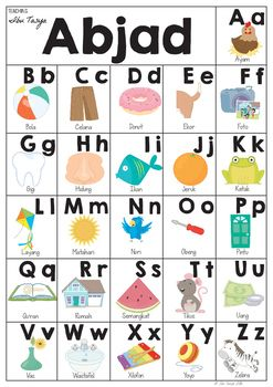 This Poster is great for helping your class reinforce the sounds of the alphabet and learn some new words.A3 in size it can be enlarged for a big poster, or shrunk down to A4 or A5 for students.Follow my store to be updated on new products as I am currently working on an Indonesian Student Picture Dictionary, and Indonesian Alphabet Freeze.