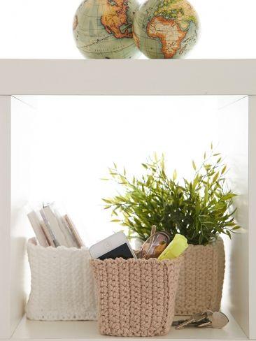 Mini Square Baskets: free #crochet pattern