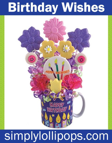 "Don't know what to get the birthday boy or girl?  Celebrate by sending birthday wishes to someone special with this ""Happy Birthday"" mug filled with gourmet, hand-poured, hard candy lollipops. Assorted flavorful pops include daisies, flowers, roses, and happy faces to guarantee a birthday smile. The 11 lollipop bouqet includes watermelon, banana cream, pink lemonade, marshmallow, and grape flavors.  A birthday gift to remember!"
