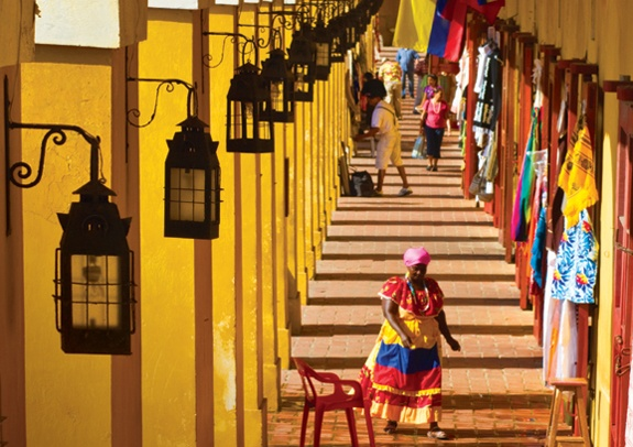 The streets of Cartagena. Colorful street. Bright. Exotic