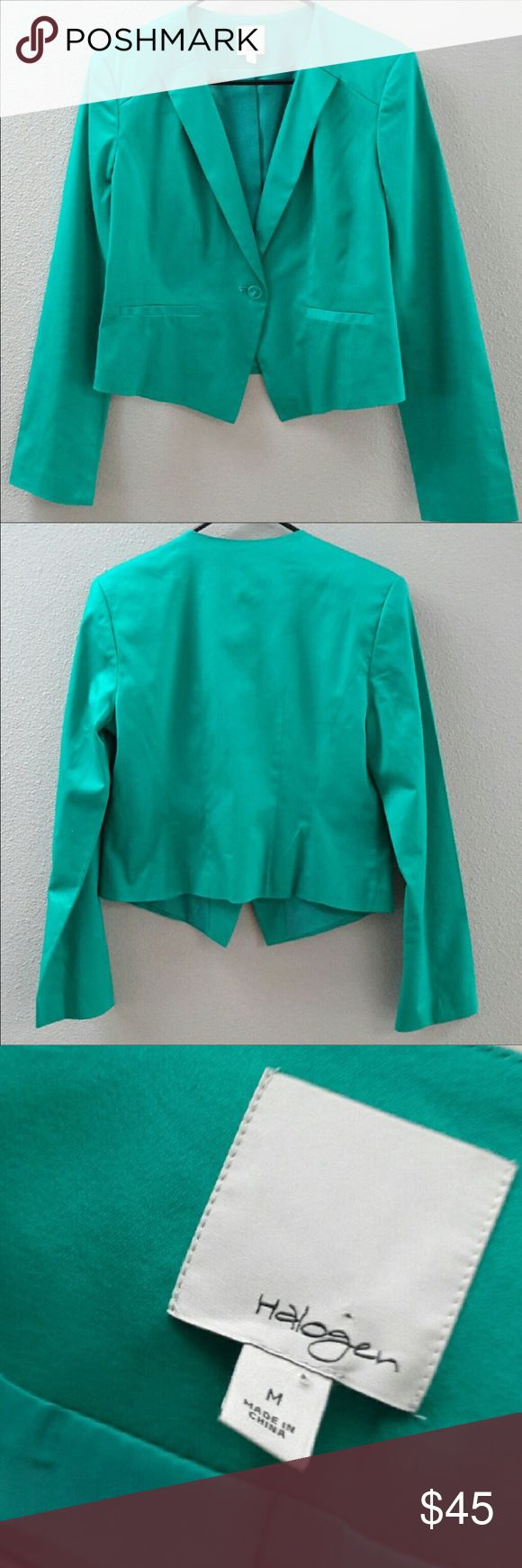 Halogen turquoise blazer Halogen (a Nordstrom brand) turquoise blazer • Mint condition! • BEAUTIFUL color! • One front button • Fully lined • Size: Medium Halogen Jackets & Coats Blazers