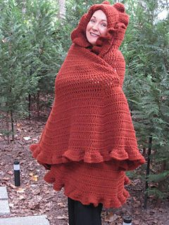 Cape is easy to make requiring double crochets throughout. Just be sure to increase in the rows as shown to create the fullness.