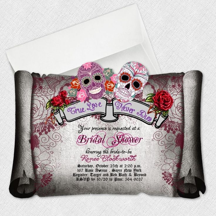 Sugar Skull Bridal Shower Invitations Day Of The Dead Wedding Invitation #newyorkinvitations #BridalShower