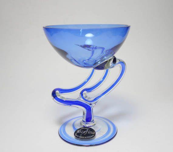 Vintage Signed Krosno Jozefina Cobalt Blue Art Glass Vase, Hand Made Krosno Blue Art Glass Vase, Krosno Poland Josefina Art Glass Vase