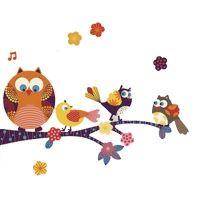 Kidzsupplies | Nouvelles Images muursticker tak uil en vogeltjes | Webwinkel voor baby- en kinderkamer decoratie