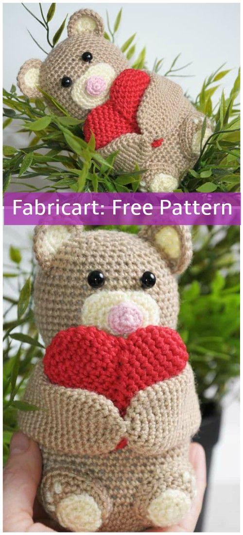 Crochet Valentine Heart Teddy Bear Free Pattern Patterns
