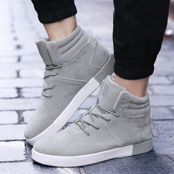 Nubuck Leather Solid Shoes Men Winter Lace Up High Top Thick Bottom Breathable Fashion Casual Shoes Zapatillas Deportivas Hombre